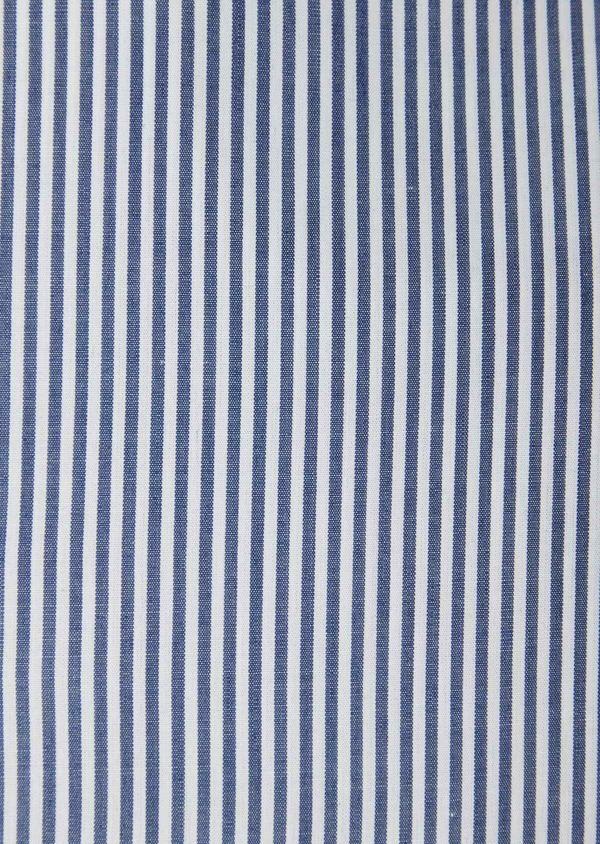 Chemise habillée Slim en popeline de coton bleu à rayures blanches - Father and Sons 37207