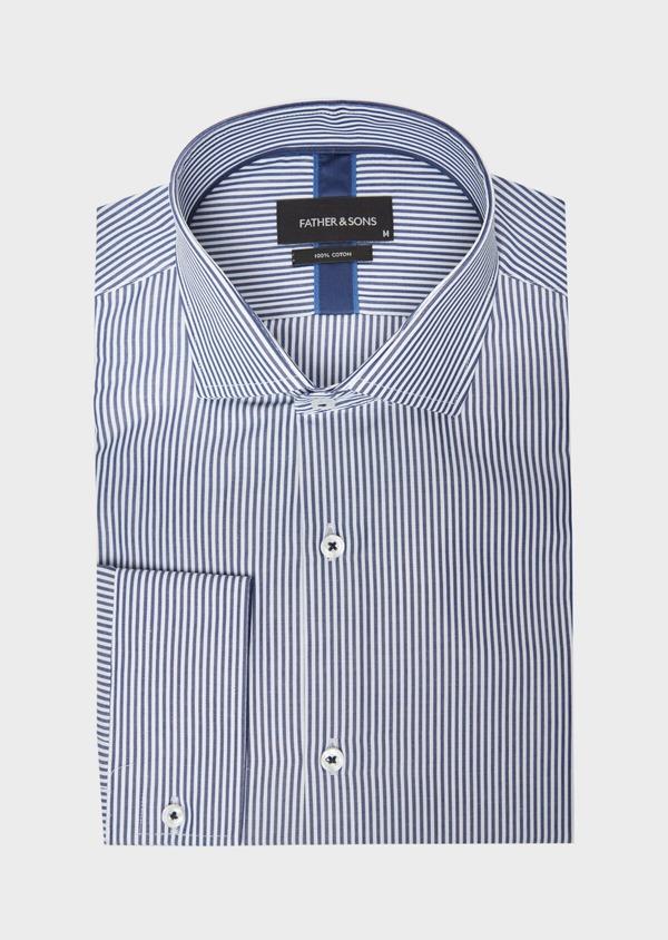 Chemise habillée Slim en popeline de coton bleu à rayures blanches - Father and Sons 37206