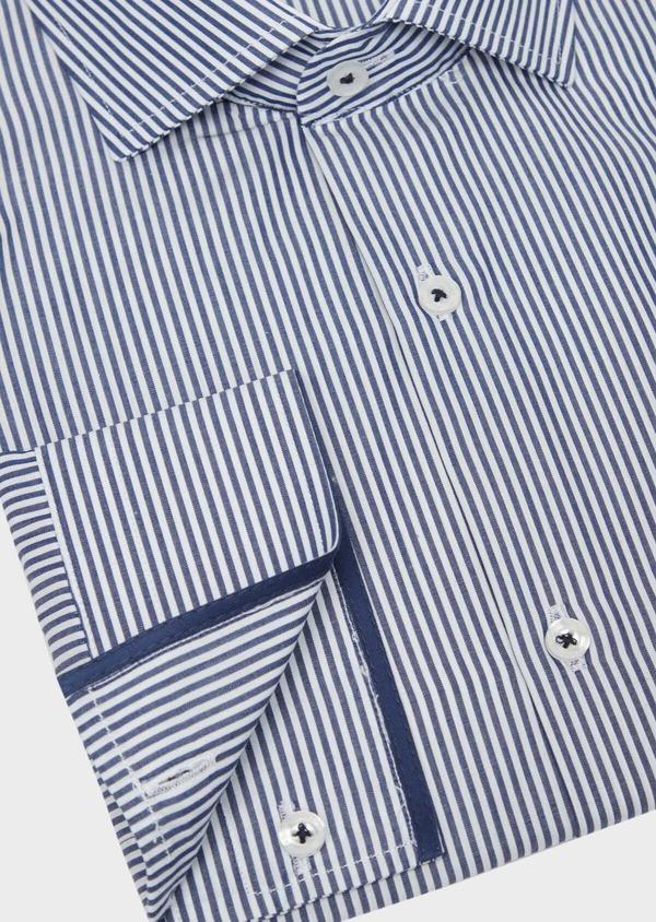 Chemise habillée Slim en popeline de coton bleu à rayures blanches - Father and Sons 37208