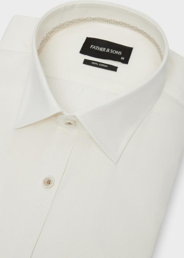 Chemise habillée Slim en coton façonné écru à motifs ton sur ton - Father and Sons 38313