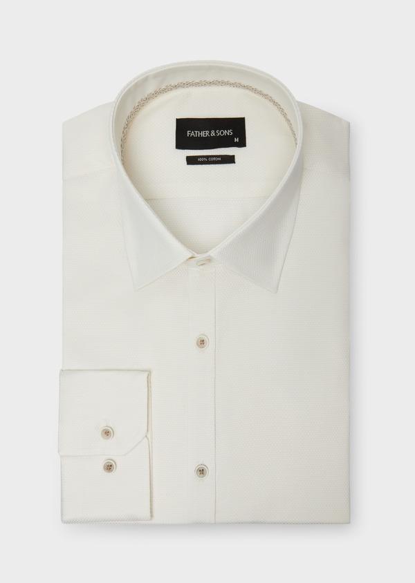 Chemise habillée Slim en coton façonné écru à motifs ton sur ton - Father and Sons 38311