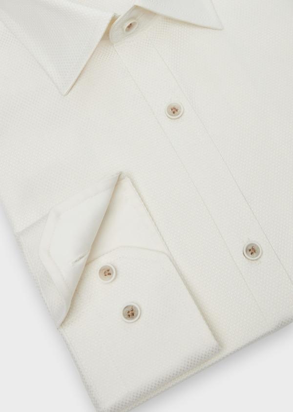 Chemise habillée Slim en coton façonné écru à motifs ton sur ton - Father and Sons 38314