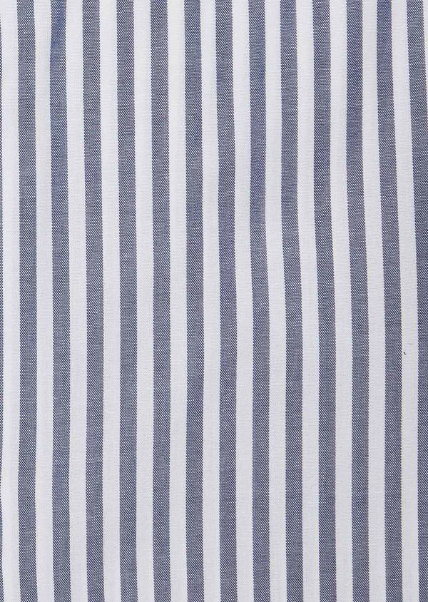 Chemise habillée Slim en popeline de coton blanc à rayures bleu marine - Father and Sons 38372