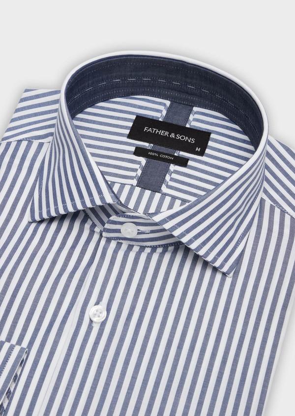 Chemise habillée Slim en popeline de coton blanc à rayures bleu marine - Father and Sons 38373