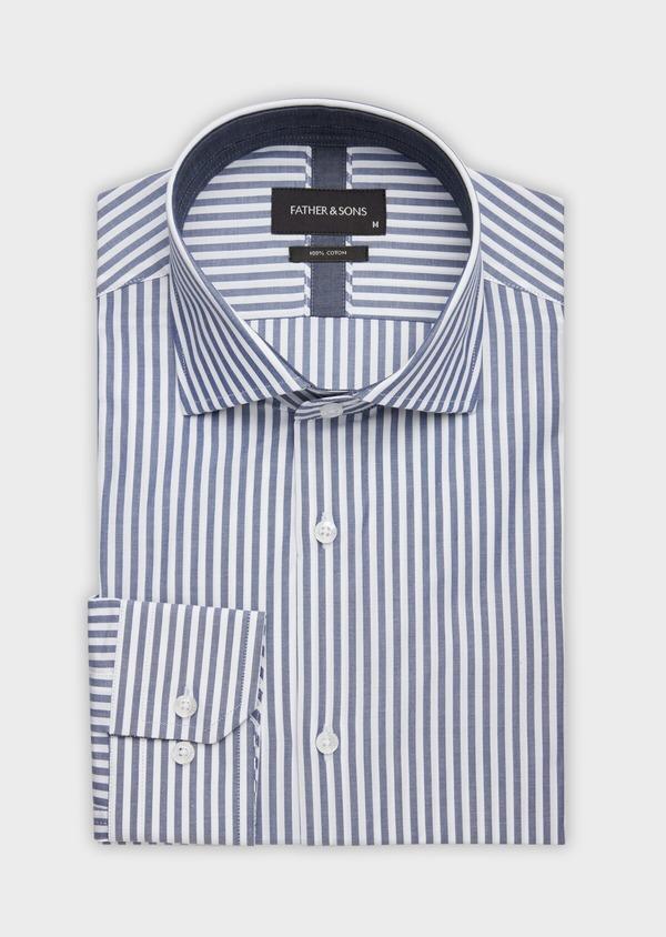 Chemise habillée Slim en popeline de coton blanc à rayures bleu marine - Father and Sons 38371