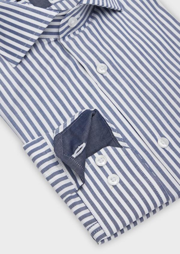 Chemise habillée Slim en popeline de coton blanc à rayures bleu marine - Father and Sons 38374