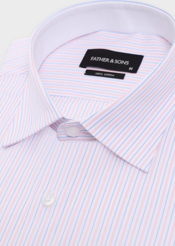 Chemise habillée Slim en popeline de coton à rayures roses, bleues et blanches - Father and Sons 34902