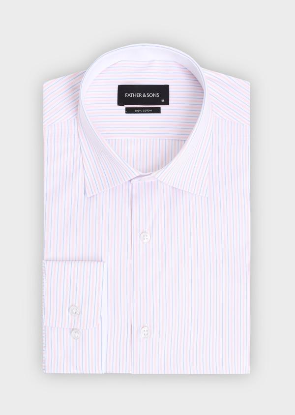 Chemise habillée Slim en popeline de coton à rayures roses, bleues et blanches - Father and Sons 34900