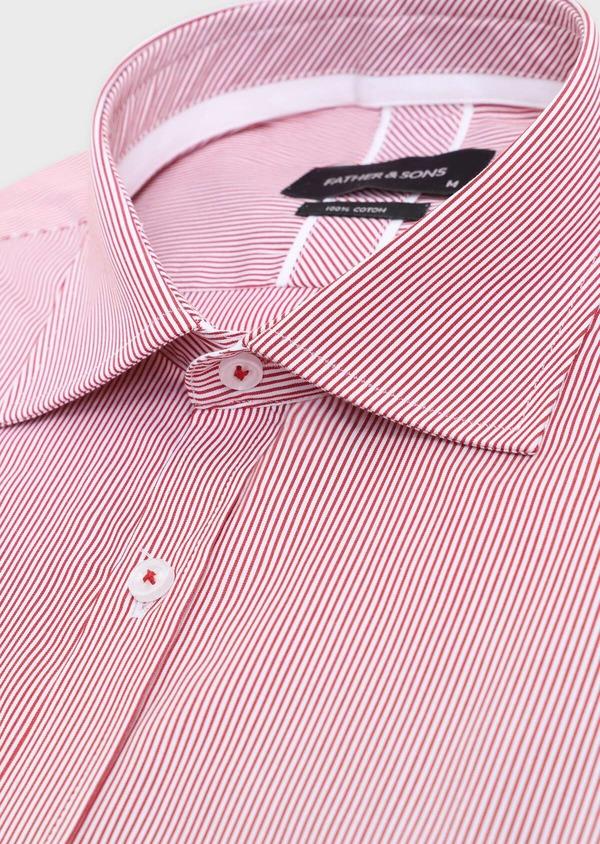Chemise habillée Slim en popeline de coton à rayures rouges et blanches - Father and Sons 34890