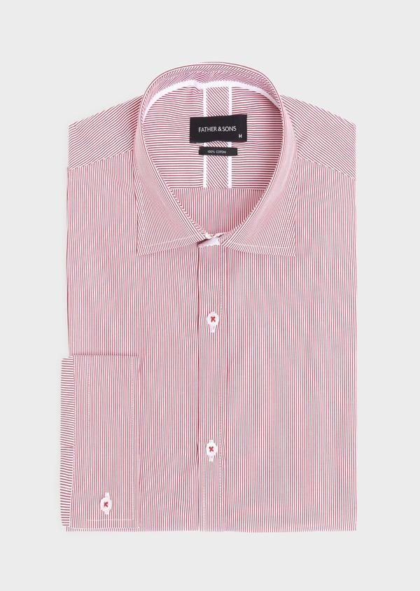 Chemise habillée Slim en popeline de coton à rayures rouges et blanches - Father and Sons 34888