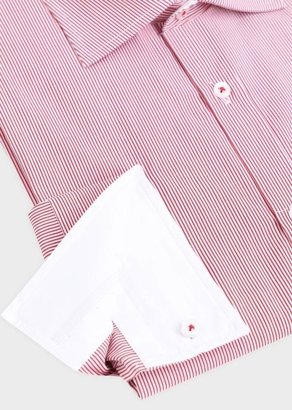 Chemise habillée Slim en popeline de coton à rayures rouges et blanches - Father and Sons 34891