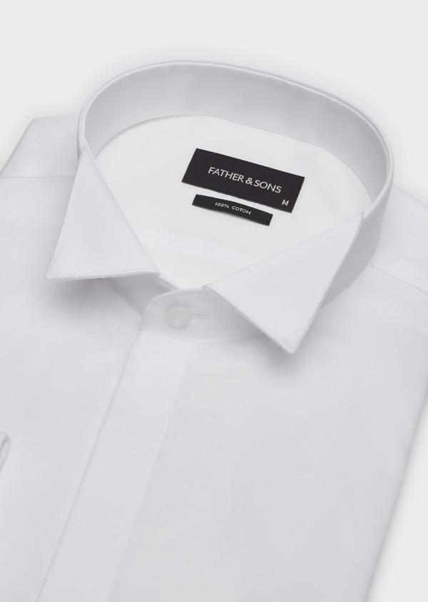 Chemise habillée Slim en popeline de coton blanc à col cassé - Father and Sons 37263