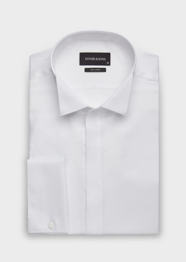 Chemise habillée Slim en popeline de coton blanc à col cassé - Father and Sons 37260