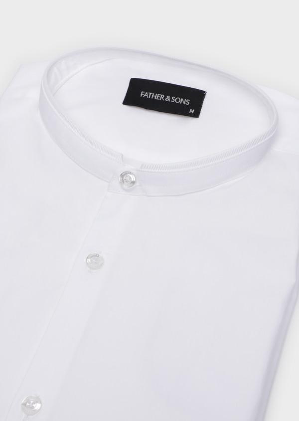 Chemise habillée Slim en satin de coton uni blanc à col officier - Father and Sons 35741