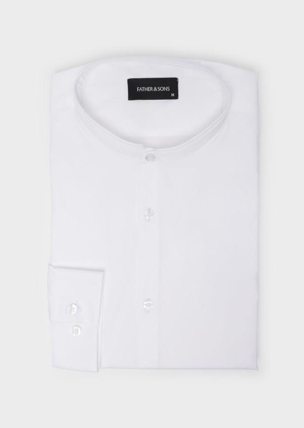 Chemise habillée Slim en satin de coton uni blanc à col officier - Father and Sons 35739