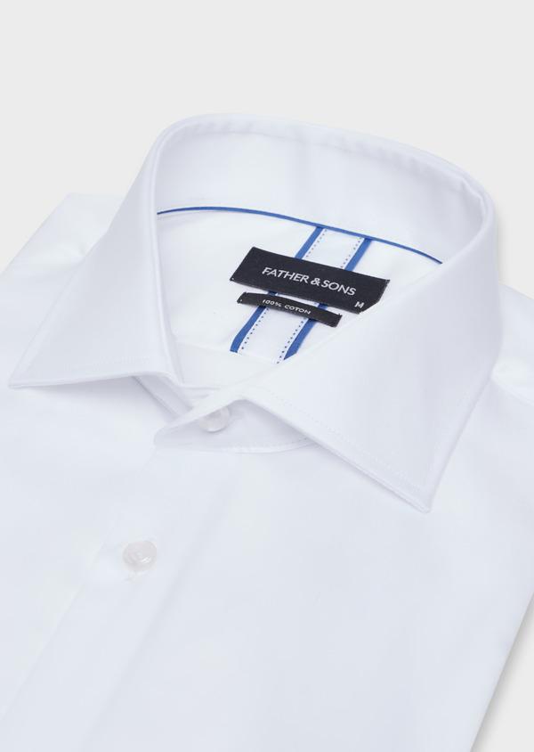Chemise habillée Slim en satin de coton uni blanc - Father and Sons 34954