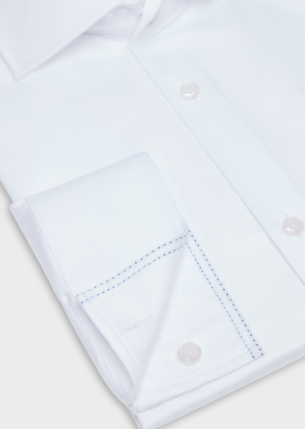 Chemise habillée Slim en satin de coton uni blanc - Father and Sons 34955