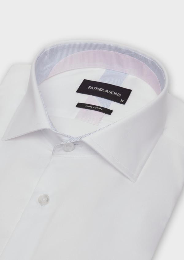 Chemise habillée Slim en satin de coton uni blanc - Father and Sons 38345