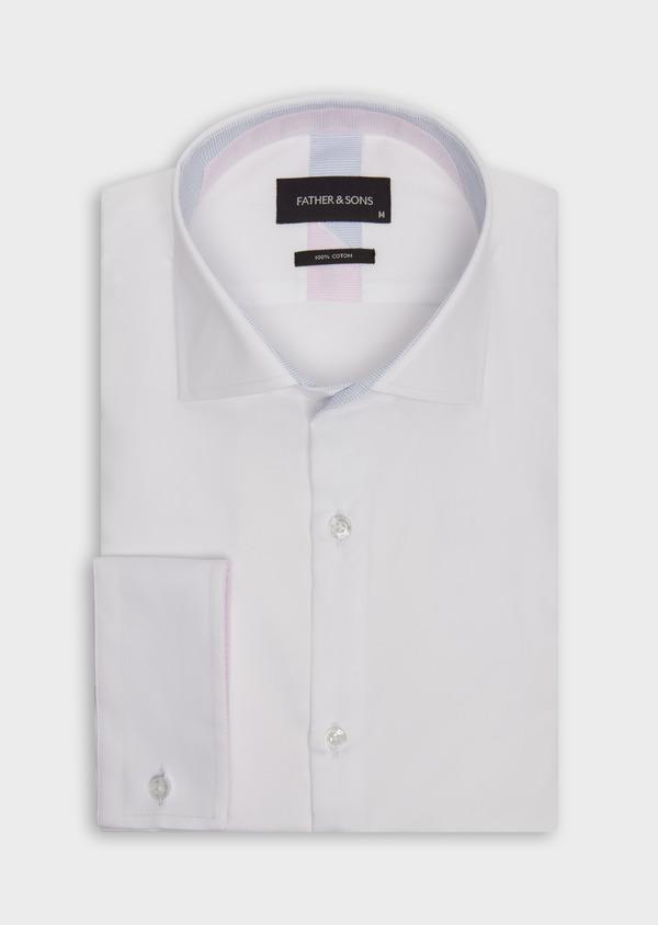 Chemise habillée Slim en satin de coton uni blanc - Father and Sons 38343