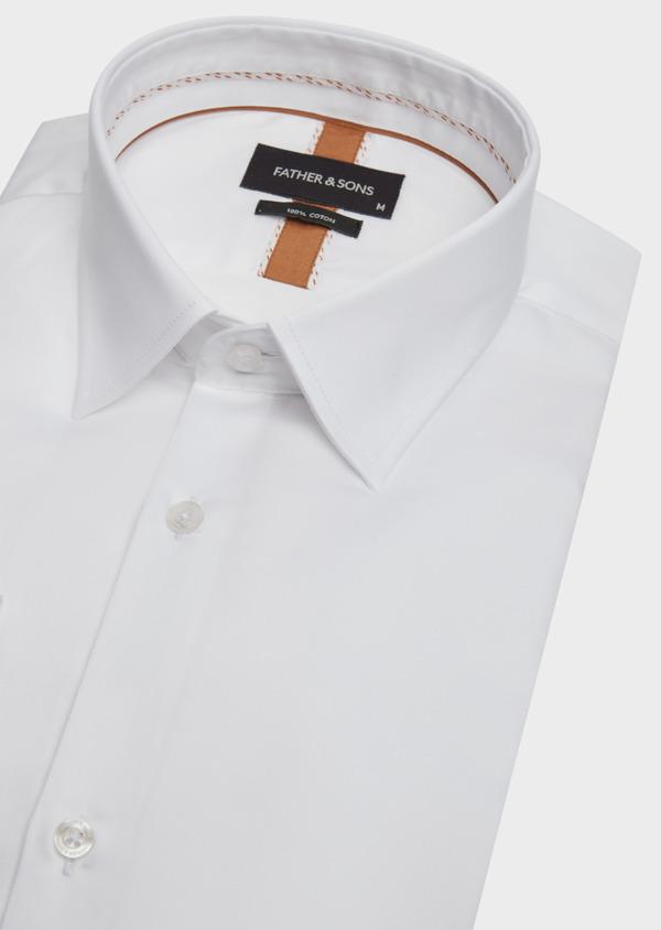 Chemise habillée Regular en satin de coton uni blanc - Father and Sons 39367
