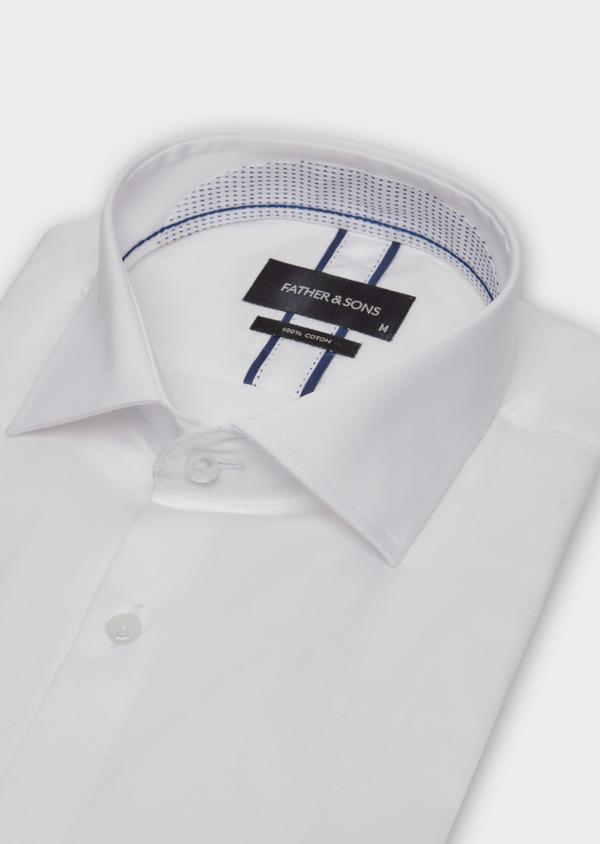 Chemise habillée Slim en satin de coton uni blanc - Father and Sons 38353