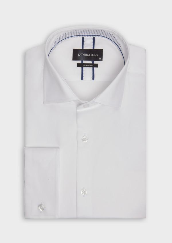Chemise habillée Slim en satin de coton uni blanc - Father and Sons 38351
