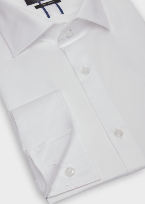 Chemise habillée Slim en satin de coton uni blanc - Father and Sons 38354