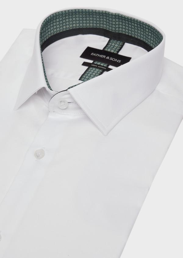 Chemise habillée Slim en satin de coton uni blanc - Father and Sons 39371