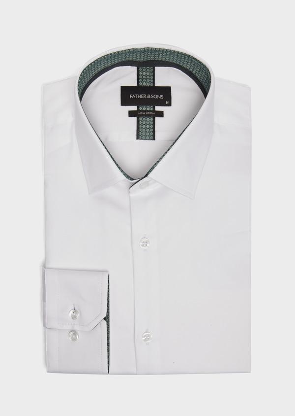 Chemise habillée Slim en satin de coton uni blanc - Father and Sons 39369
