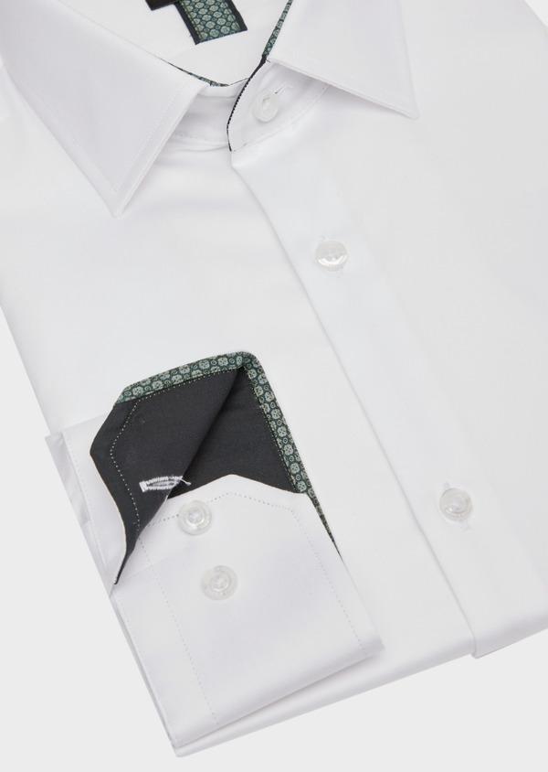 Chemise habillée Slim en satin de coton uni blanc - Father and Sons 39372
