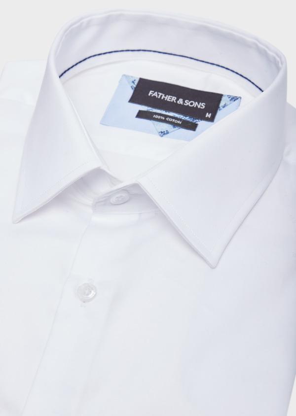 Chemise habillée Slim en satin de coton uni blanc - Father and Sons 38590