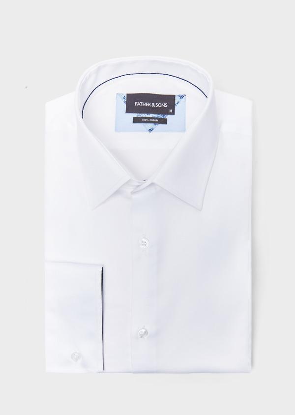 Chemise habillée Slim en satin de coton uni blanc - Father and Sons 38588