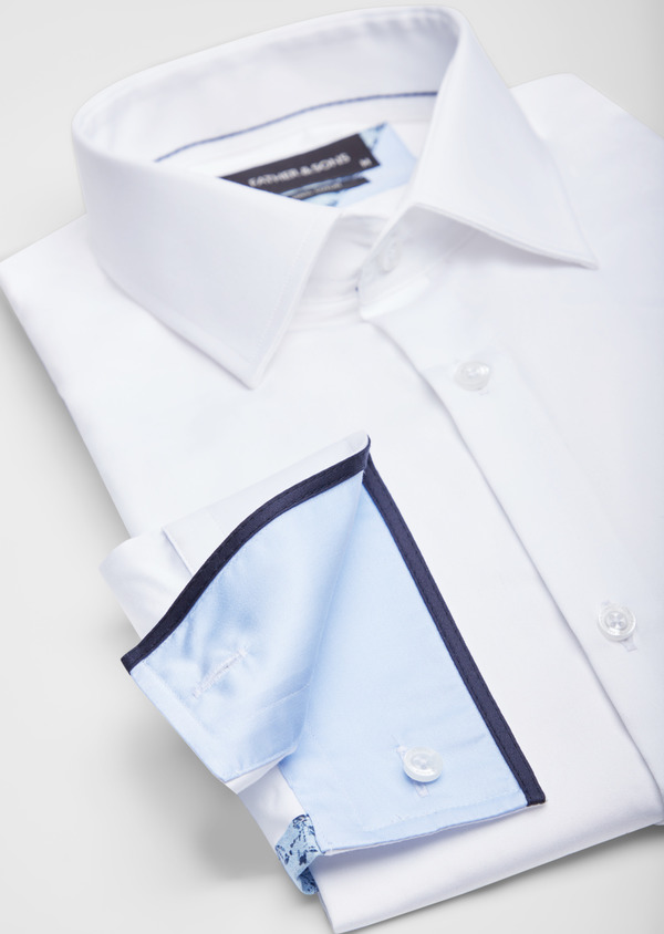 Chemise habillée Slim en satin de coton uni blanc - Father and Sons 38591