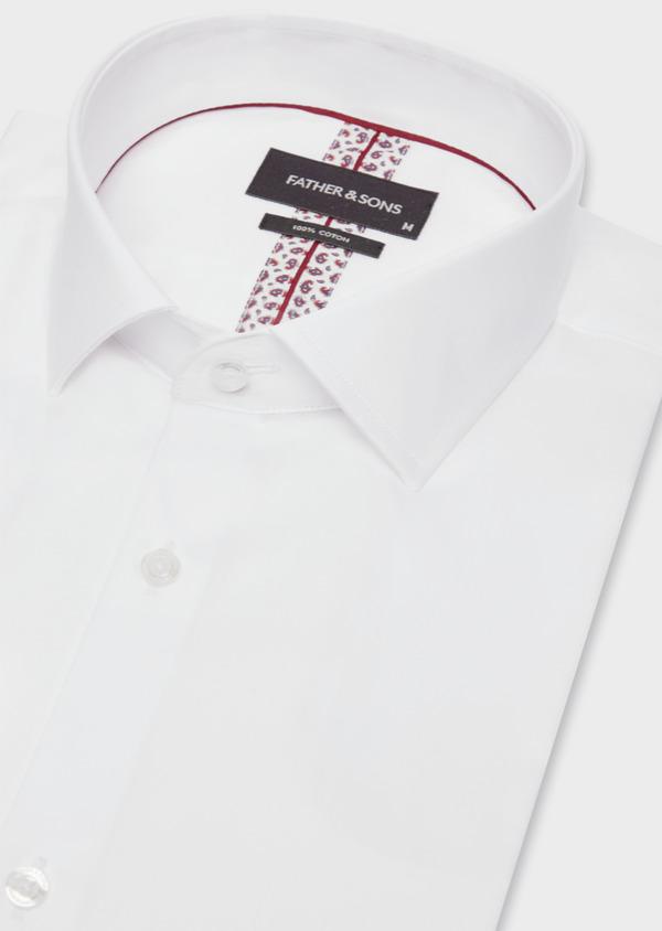 Chemise habillée Slim en satin de coton uni blanc - Father and Sons 38413
