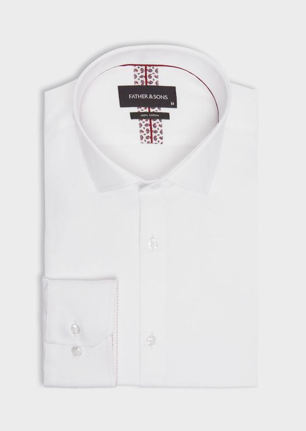 Chemise habillée Slim en satin de coton uni blanc - Father and Sons 38411