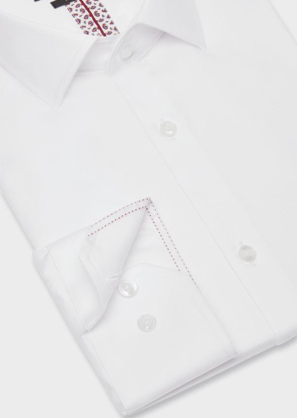Chemise habillée Slim en satin de coton uni blanc - Father and Sons 38414