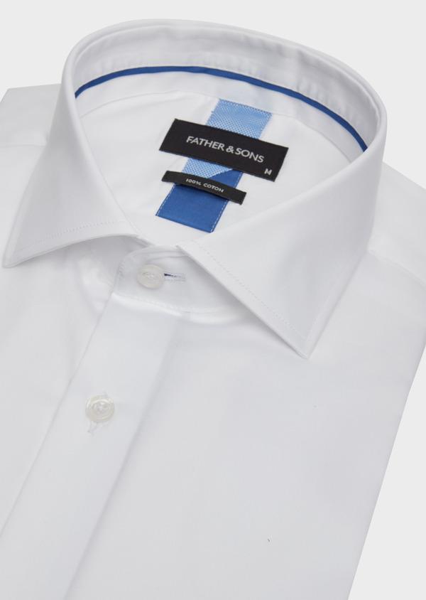 Chemise habillée Slim en satin de coton uni blanc - Father and Sons 39169