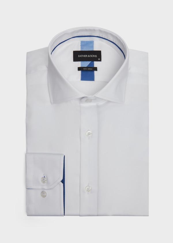 Chemise habillée Slim en satin de coton uni blanc - Father and Sons 39167