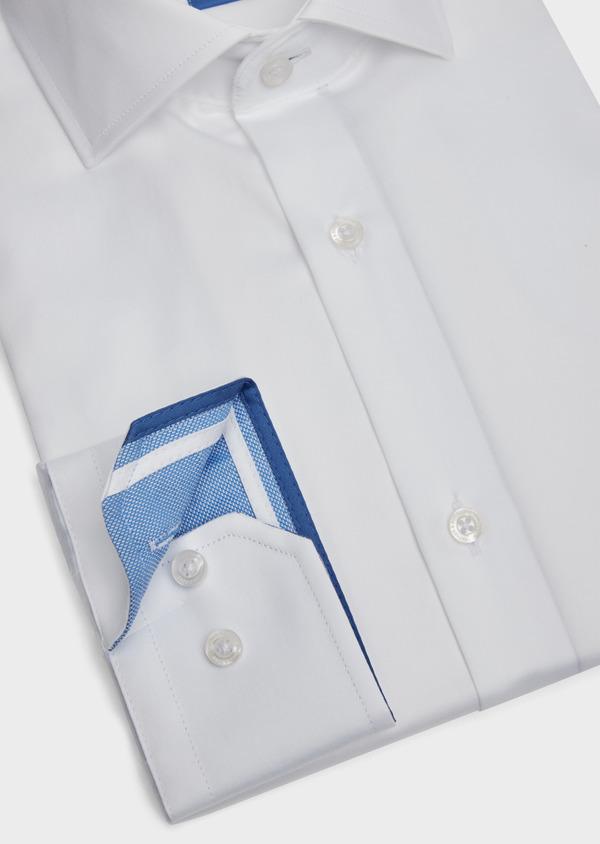 Chemise habillée Slim en satin de coton uni blanc - Father and Sons 39170