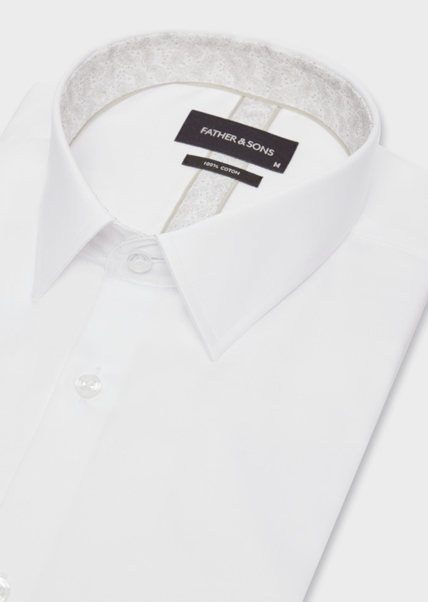 Chemise habillée Slim en satin de coton uni blanc - Father and Sons 38417