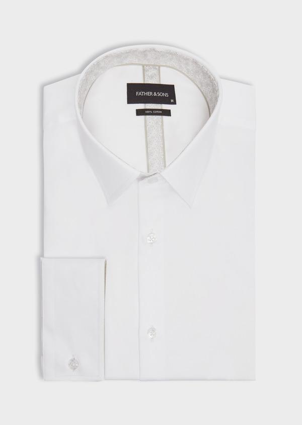 Chemise habillée Slim en satin de coton uni blanc - Father and Sons 38415