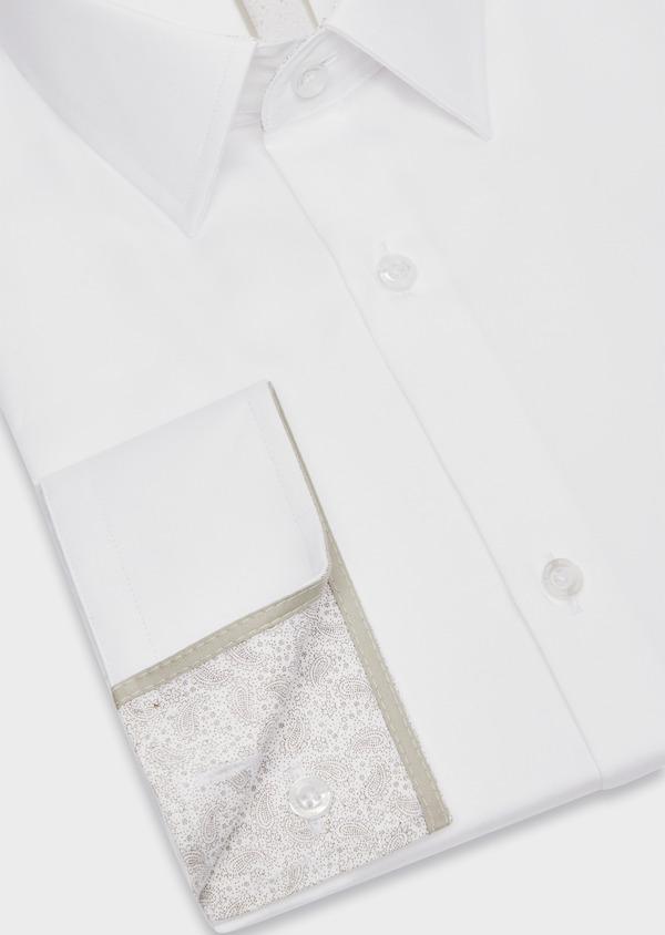 Chemise habillée Slim en satin de coton uni blanc - Father and Sons 38418