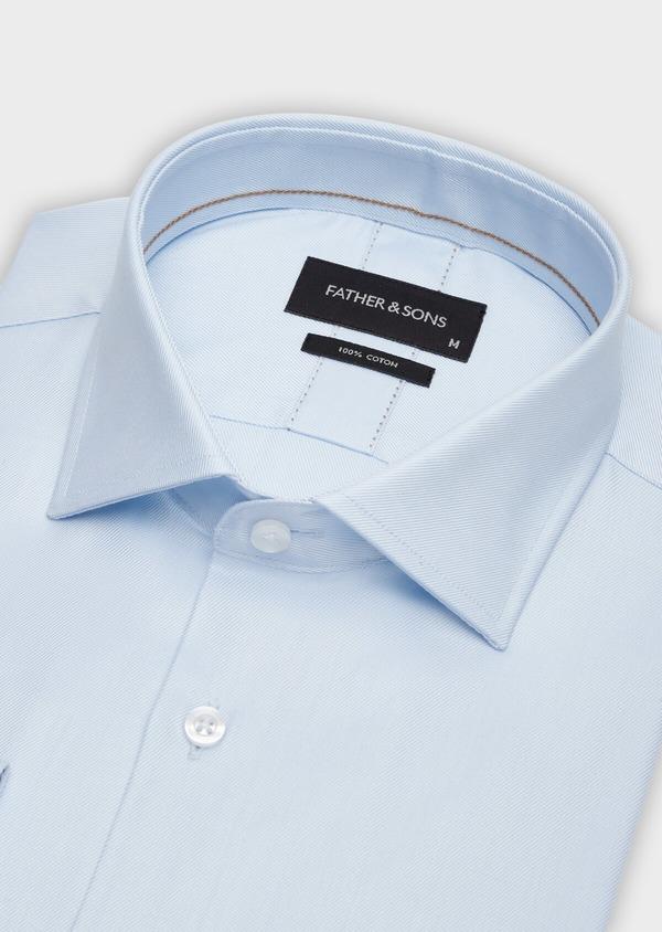 Chemise habillée Regular en twill de coton uni bleu pâle - Father and Sons 38329