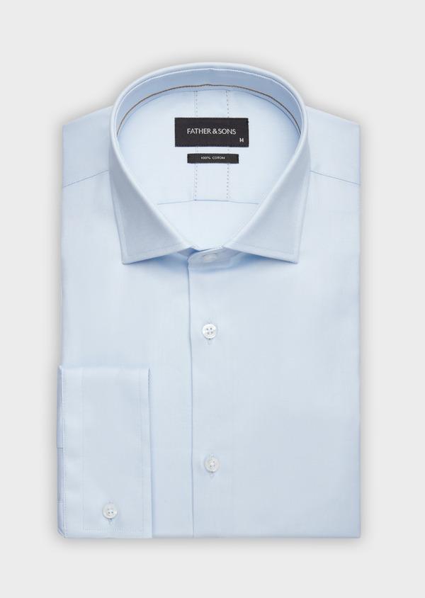 Chemise habillée Regular en twill de coton uni bleu pâle - Father and Sons 38327