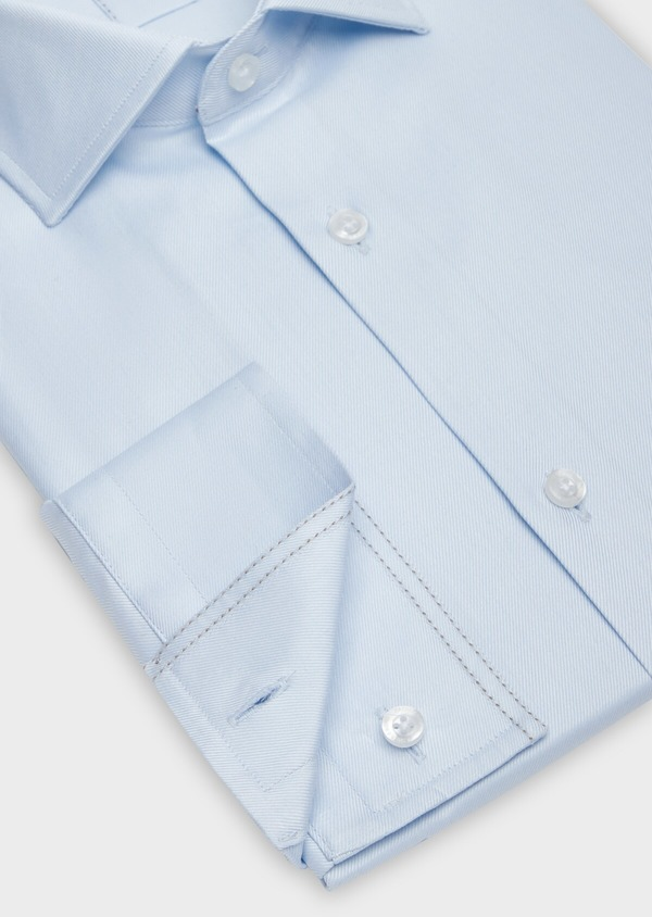 Chemise habillée Regular en twill de coton uni bleu pâle - Father and Sons 38330