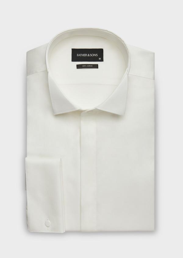 Chemise habillée Slim en popeline de coton écru à col cassé - Father and Sons 37279