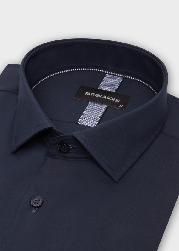 Chemise habillée Slim en satin de coton uni bleu marine - Father and Sons 38377