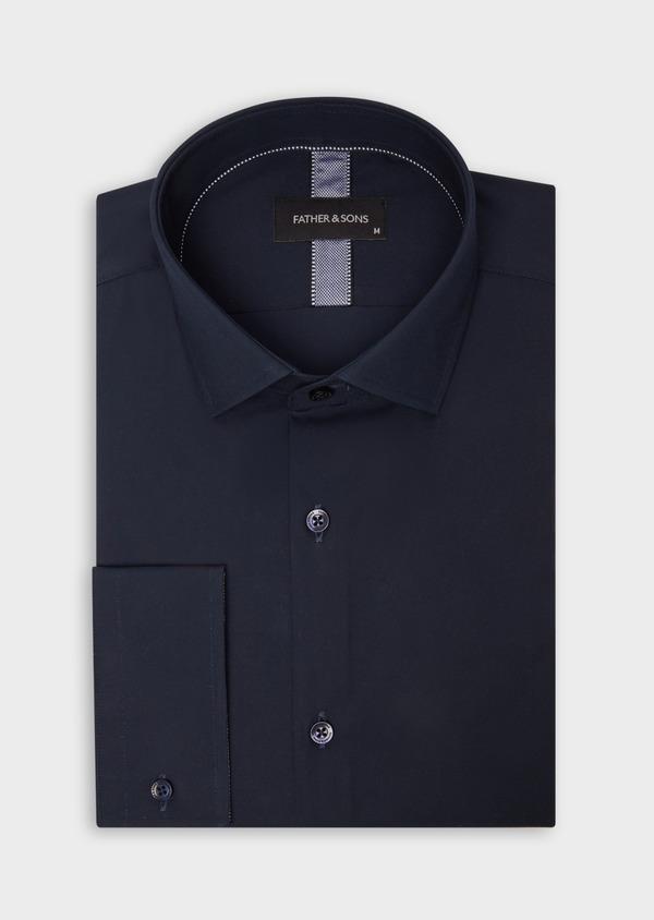 Chemise habillée Slim en satin de coton uni bleu marine - Father and Sons 38375