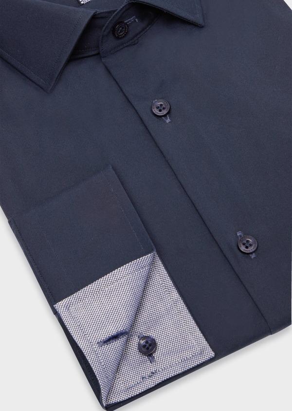 Chemise habillée Slim en satin de coton uni bleu marine - Father and Sons 38378