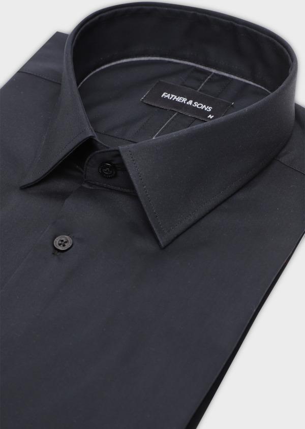 Chemise habillée Slim en satin de coton uni noir - Father and Sons 34986